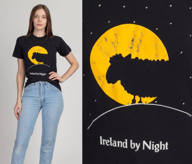 """Vintage """"Ireland By Night"""" Sheep Silhouette T Shirt - Small   80s 90s Black Funny Graphic Tourist Tee by FlyingAppleVintage"""