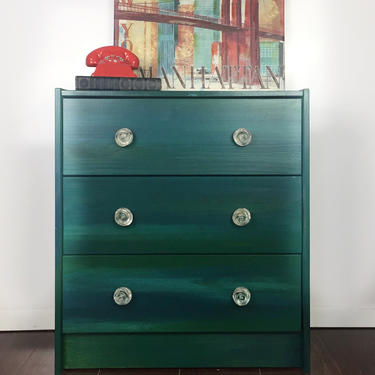 Green Dresser   Emerald Green Dresser   Small Chest of Drawers   Bedroom Furniture   Large Nightstand   3-Drawer Dresser   Green Nightstand by AllThingsNewAgainVA