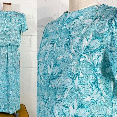 Vintage Green Floral Dress Lady Carol 1970s 70s Short Petal Sleeve Boho Fit & Flare White Deadstock NOS 1980s 80s Medium Large by CheckEngineVintage