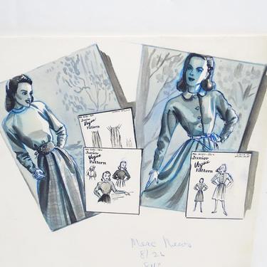 Antique 1940's Original Art, Sylvia Baird Vintage Fashion Advertisement Illustration Design Painting, Vintage Retro Vogue Dresses by exploremag