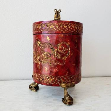 Maitland-Smith Red Partial Gilt Decorative Table Box by LynxHollowAntiques