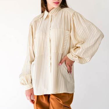 Vintage 80s Escada Cream Silk Pinstriped Blouse w/ Billowy Poof Sleeves & Side Buttoned Pockets | Made in West Germany | 1980s Designer Top by TheVault1969