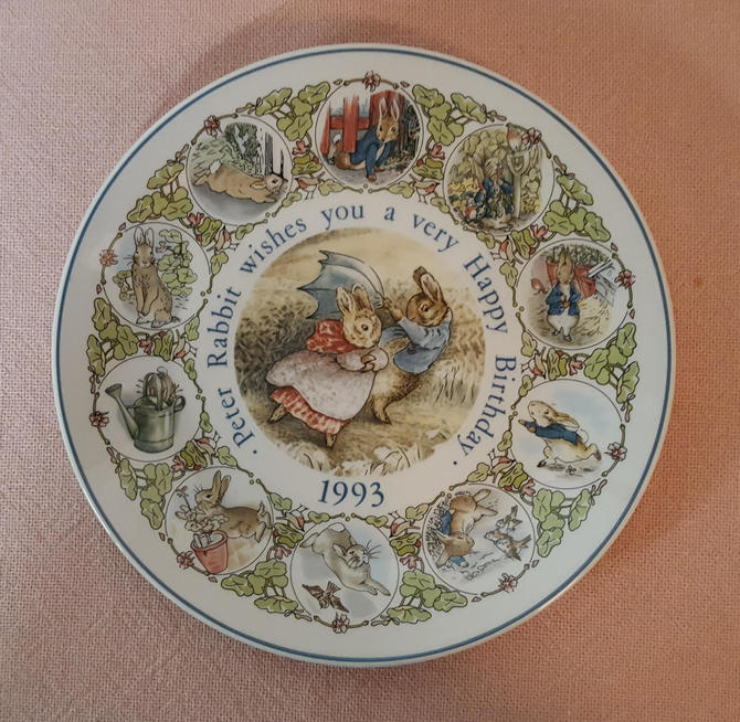 Vintage Beatrix Potter Nursery Ware 1993 Peter Rabbit Birthday Plate By Wedgwood by OverTheYearsFinds