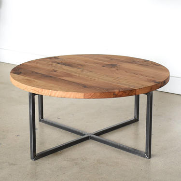 Round Coffee Table / Reclaimed Wood + Metal Base Coffee Table / Industrial Modern Coffee Table by wwmake