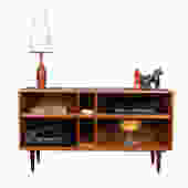 Deep Modern Teak Deep Open Bookcase / Media Cabinet