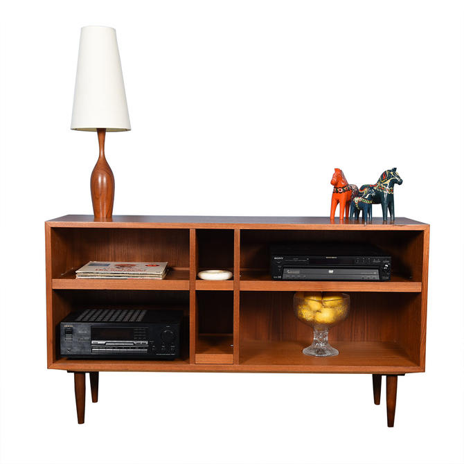 Deep Modern Teak Deep Open Bookcase / Media Cabinet