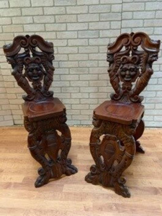 Antique Italian Renaissance Carved Ornate Figural Walnut Hall Chairs - Pair