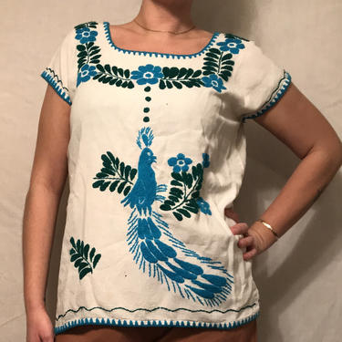 1970s Linen Shirt w/Peacock and Leaf Mexican Embroidery    Short Sleeves    Loose Body Style    Handmade    Size M/L by CelosaVintage