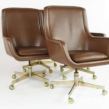 Ward Bennett Mid Century Executive Highback Brass and Leather Office Chairs - Set of 4 - Pair - mcm by ModernHill