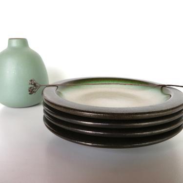 "Set Of 4 Vintage Heath 5 1/4"" Sea And Sand Plates, Edith Heath Small Rim Line Side Plates by HerVintageCrush"