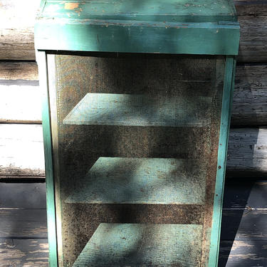 Farmhouse cupboard chippy green blue cupboard country pie safe rustic cabinet jelly cupboard turquoise by akaATA