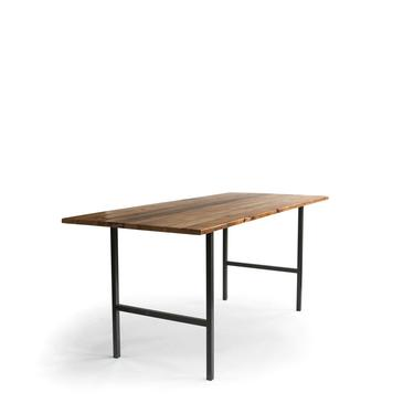 High Top Table, Bar Height Pub Table, Urban Wood Goods table made with reclaimed wood planks and steel legs - choice of color, size, finish by UrbanWoodGoods
