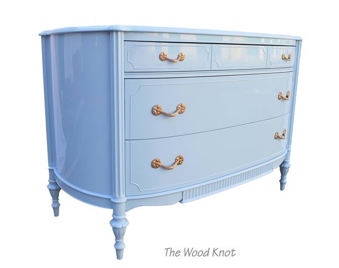 High Gloss Light Blue Antique Dresser