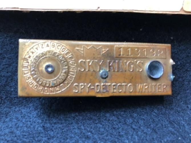 Sky King's Spy Detecto Writer Decoder Device with Ad Peter Pan Peanut Butter 1948
