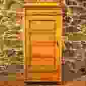 22603 Antique Pine Armoire with Unusual Door Opening Left, circa 1880