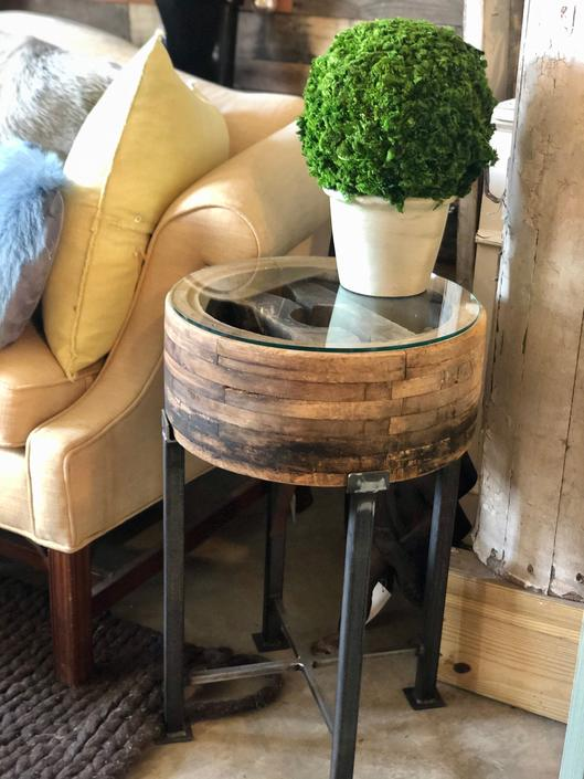 ANTIQUE INDUSTRIAL PULLEY END TABLE