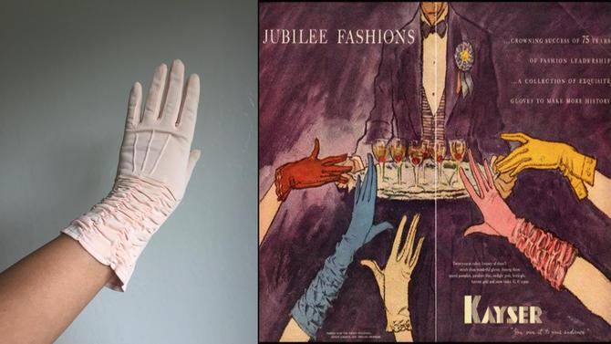 A Jubilee Begins - Vintage 1950s Petal Pink Shirred Valance Nylon Mid Fore Arm Length Gloves - 6.5/7 by RoadsLessTravelled2