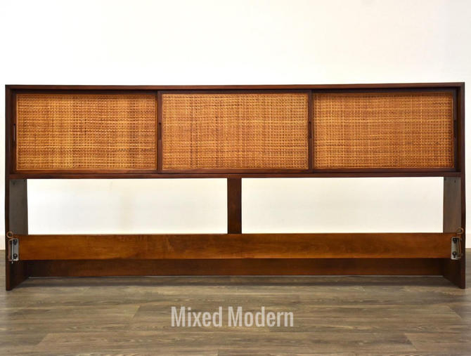 Walnut & Cane King Headboard Bookcase by mixedmodern1