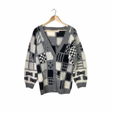 Vintage Grey Black White Geometric Shetland Wool Cardigan Sweater, Size L by Northforkvintageshop