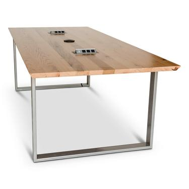 Reclaimed White Oak Conference Table with knife cut edge, U steel legs. Power not included, inquire for details. Oil finish, clear topcoat. by UrbanWoodGoods
