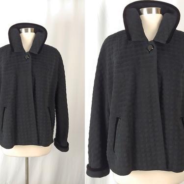Vintage Fifties Black Wool One Button Swing Coat - 50s Black Kolmer Long Sleeve Jacket - Large by JanetandJaneVintage