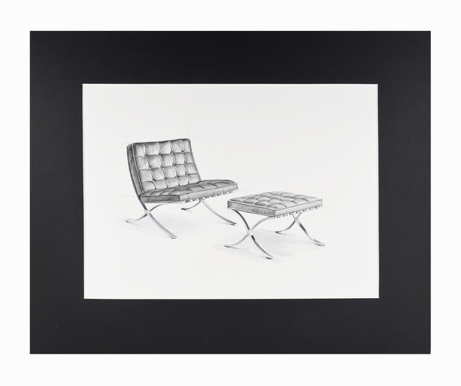 Watercolor Painting Barcelona Chair Mies van der Rohe Interior Design Mid Century Modern by VintageInquisitor