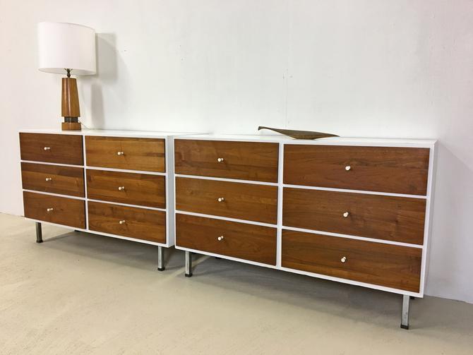 Pair of Mid Century Modern Walnut Dressers with White Laminate Tops by retrocraftdesign