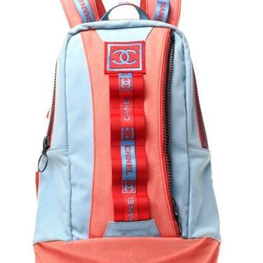 Vintage CHANEL CC Logo Mania Webbing BACKPACK Gym School Travel Rucksack Purse Messenger Bag Tote by MoonStoneVintageLA