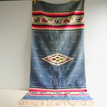 Vintage Saltillo Blanket, Wool Saltillo, Mexican Table Runner, Textile Wall Hanging by LittleDogVintage
