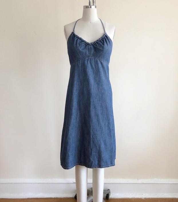 Dark Blue Denim Halter Mini Dress - 1990s by LogansClothing