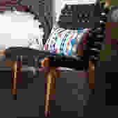 Jens RISOM Lounge CHAIR, Black + Maple