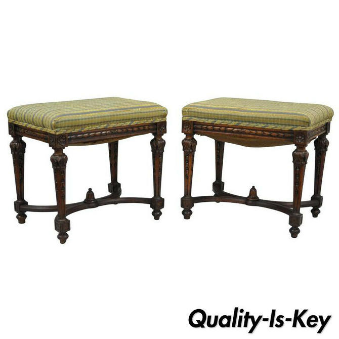 Pair of 1930s French Carved Walnut Louis XVI Style Victorian Stools Ottomans