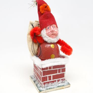 Vintage Santa in Chimney Christmas Tree Ornament,  Composite with Hand Painted Face by exploremag