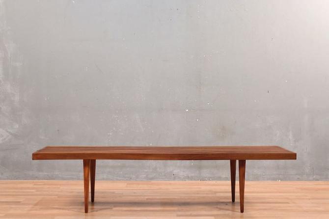Mid Century Luxe Slat-Top Walnut Coffee Table
