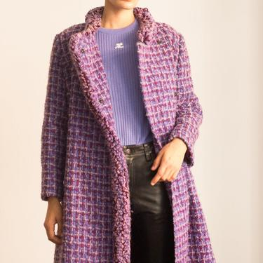 1960s Lilac Tweed Muppet Fringed Coat by waywardcollection