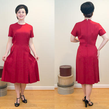 SALE PRICE 1950s Vintage Dress - Red Linen Dress with Front Box Pleats - Perfect Office, Tea Time, or Daily Wear by DomesticatedPinup