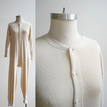 Vintage Long Underwear / Vintage Union Suit / Cotton Knit Long Underwear / Cotton Union Suit / Vintage Pajamas / Vintage Montgomery Ward by milkandice
