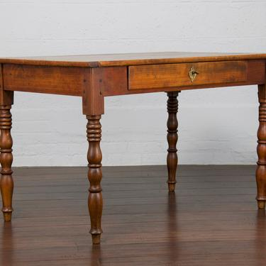 Late 19th Century Country French Rustic Farmhouse Style Walnut Writing Desk or Mid-Size Dining Table by StandOutSpaces