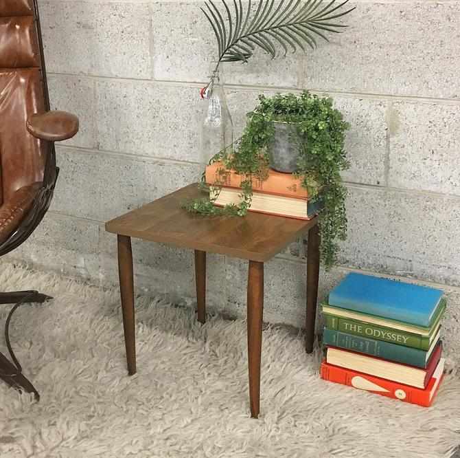Vintage MCM End Table Retro 1960s Mid Century Modern Brown Wood Grain + Small Size + End or Side Table + Mid Century Furniture + Home Decor by RetrospectVintage215