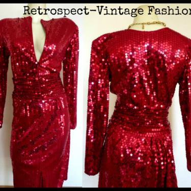 80's vintage red sequin dress /  ruby red sequin & beaded great gatsby flapper dress //  vintage cocktail party dress size m 10 by RETROSPECTNYC