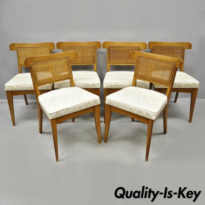 Fine Set 6 Curved Cane Back Walnut Mid Century Modern Dining Ncnpc Chair Design For Home Ncnpcorg