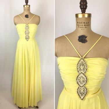 Vintage 70s dress | Vintage yellow chiffon embellished evening dress | 1970s Lilli Diamond cocktail party dress by BeeandMason