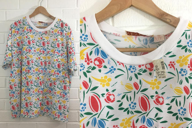 Vintage Lane Bryant Floral Tshirt Primary Red Yellow Blue Green Summer Short Sleeved Chest Pocket Women Plus Size XXL Curvy Volup NOS 22 24 by CheckEngineVintage