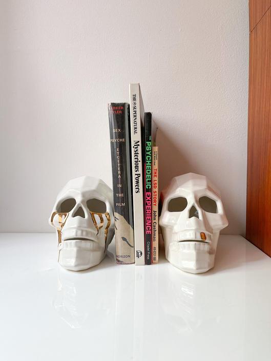 Hello Darkness My Old Friend: Skeleton Head w/ Gold