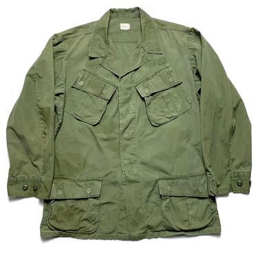 Vintage 1960s Vietnam War US Army Jungle Fatigue Jacket ~ M Long ~ Slant Pockets ~ Combat, Tropical, Coat ~ Rip Stop Cotton Poplin by SparrowsAndWolves