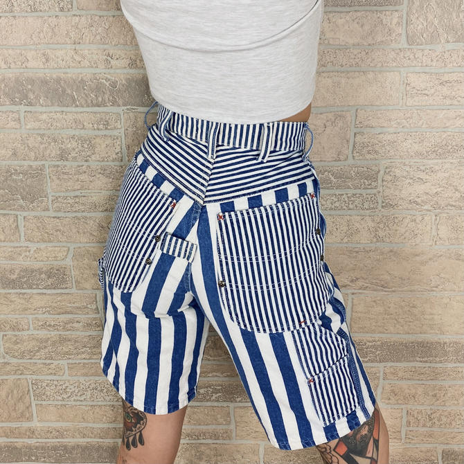 Vintage High Rise Striped Bermuda Jean Shorts / Size 24 25 by NoteworthyGarments