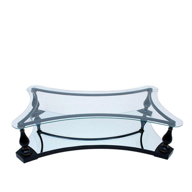 Midcentury Neoclassical Black Iron Brass and Glass Coffee Table by Arturo Pani 1960s by AMBIANIC