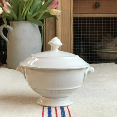 Beautiful petite antique French ironstone soup tureen by Grainsacfrenchvintag