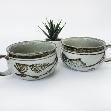 Set of 2 Vintage Hand Spun Large Ceramic Mugs with Painted Fish and Detailing by PortlandRevibe