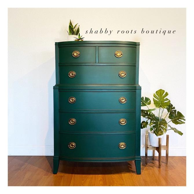 NEW! Emerald green tall dresser chest of drawers - vintage antique mahogany bow front with gold handles - San Francisco CA by ShabbyRootsBoutique